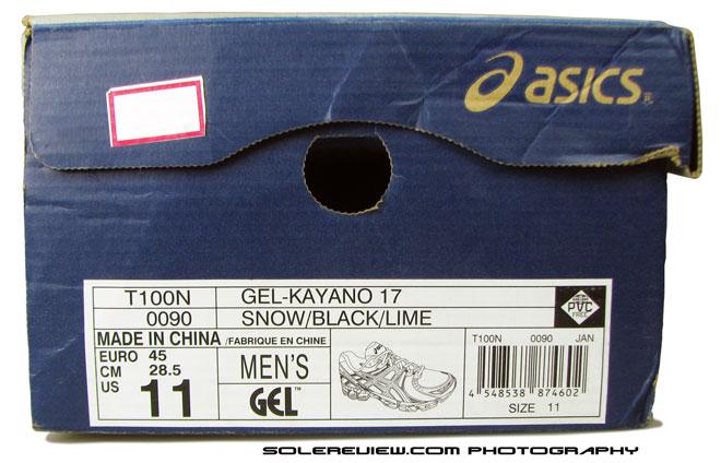 Asics Kayano 17 box image