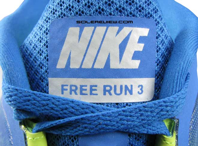 Nike Free Run 3 tongue label