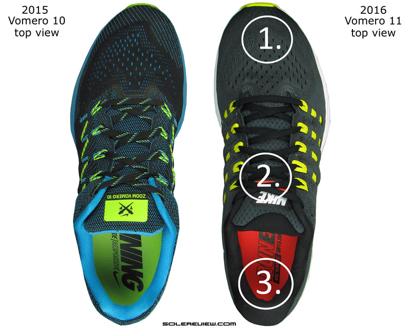 d6c7584b69cb ... the heel pushing the foot forward 2) Thicker tongue eases off lacing  pressure 3) Heel grip is assertive because of extra foam padding vs. the  Vomero 10.