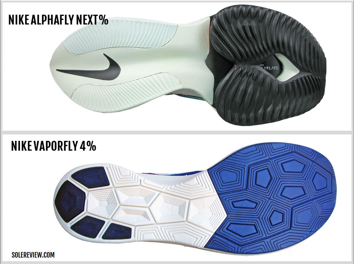 Nike Alphafly Next% versus Vaporfly 4% outsole