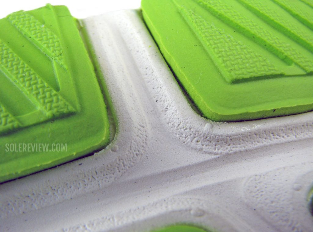 Rubber outsole of the Asics Kayano Lite