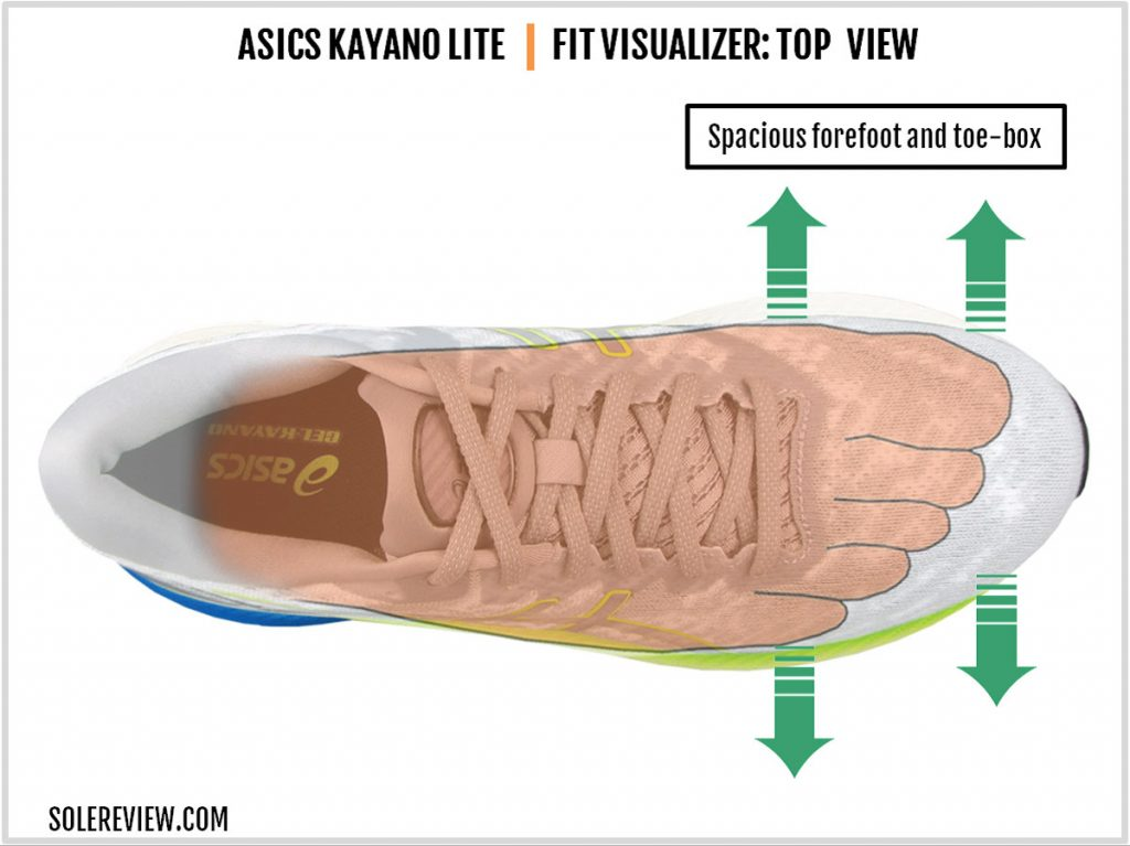 Upper fit of the Asics Kayano Lite