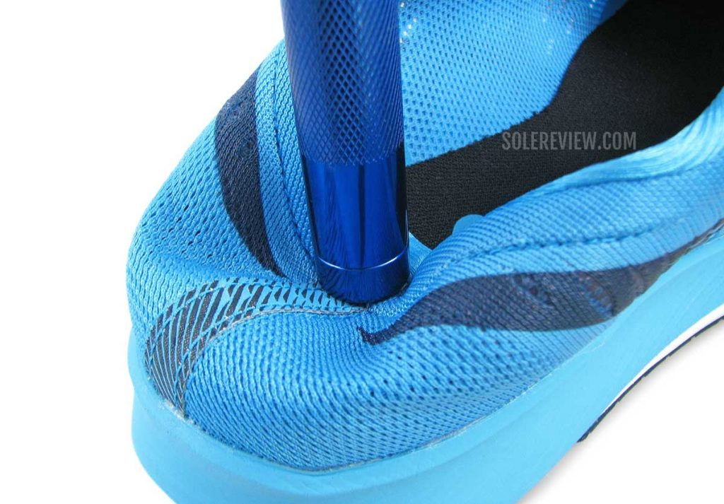 The collapsible heel of the Asics Metaracer