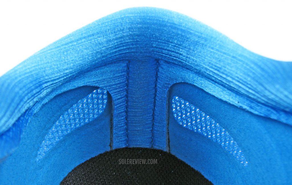 The heel collar of the Asics Metaracer