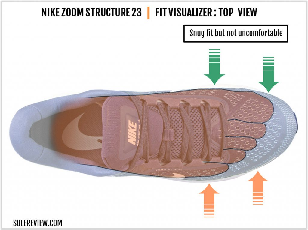 The upper fit of the Nike Zoom Structure 23.