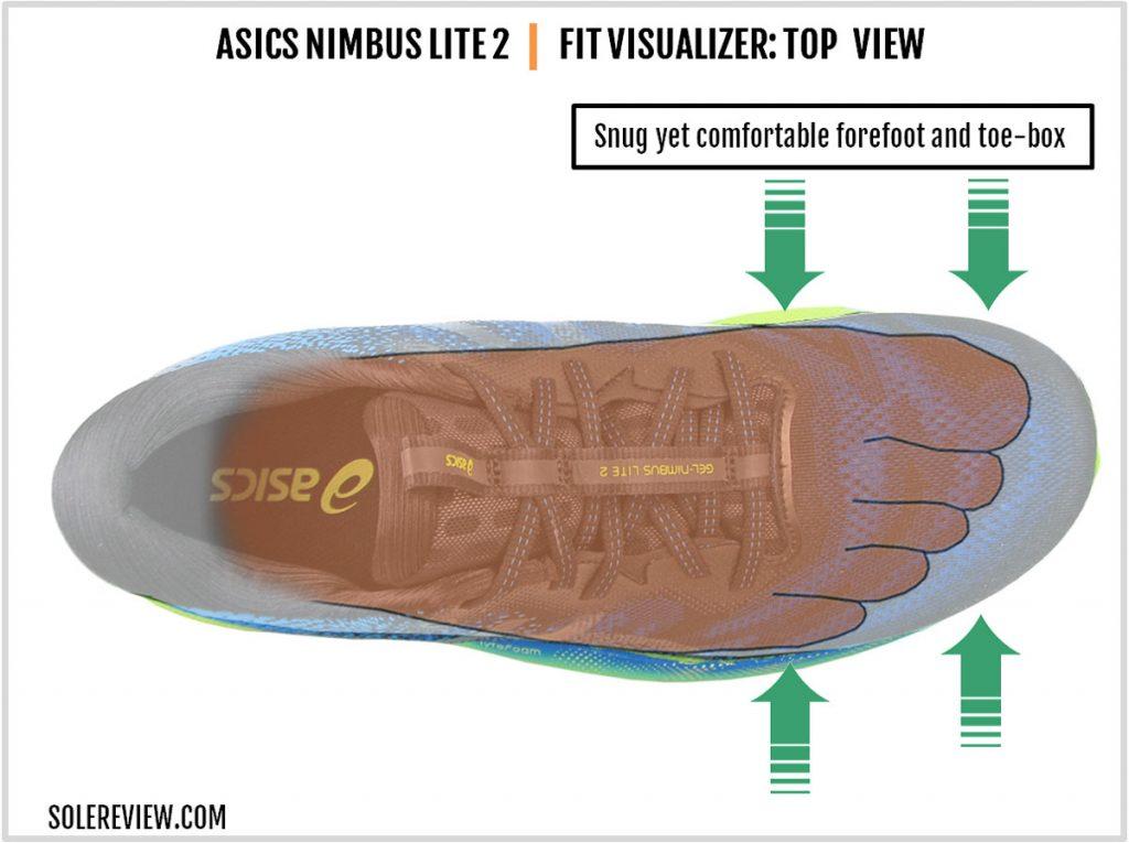 The upper fit of the Asics Gel Nimbus Lite 2.