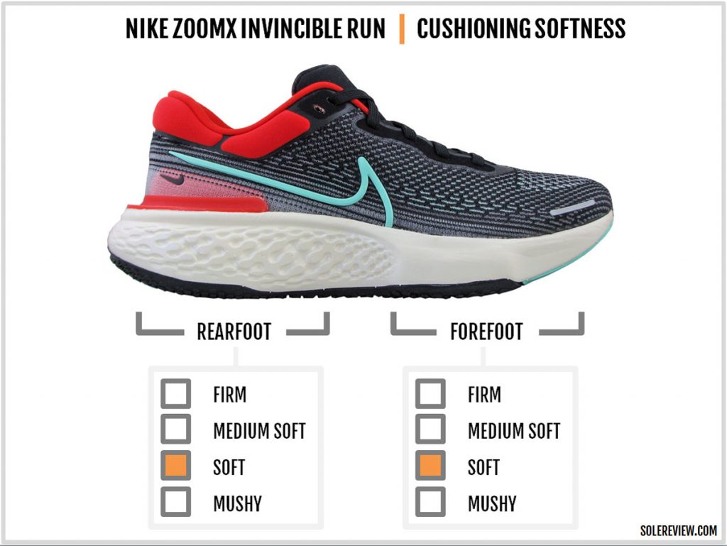 The cushioning softness of the Nike ZoomX Invincible Run Flyknit