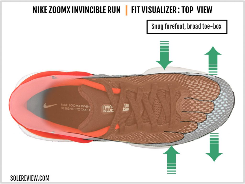 The upper fit of the Nike ZoomX Invincible Run Flyknit