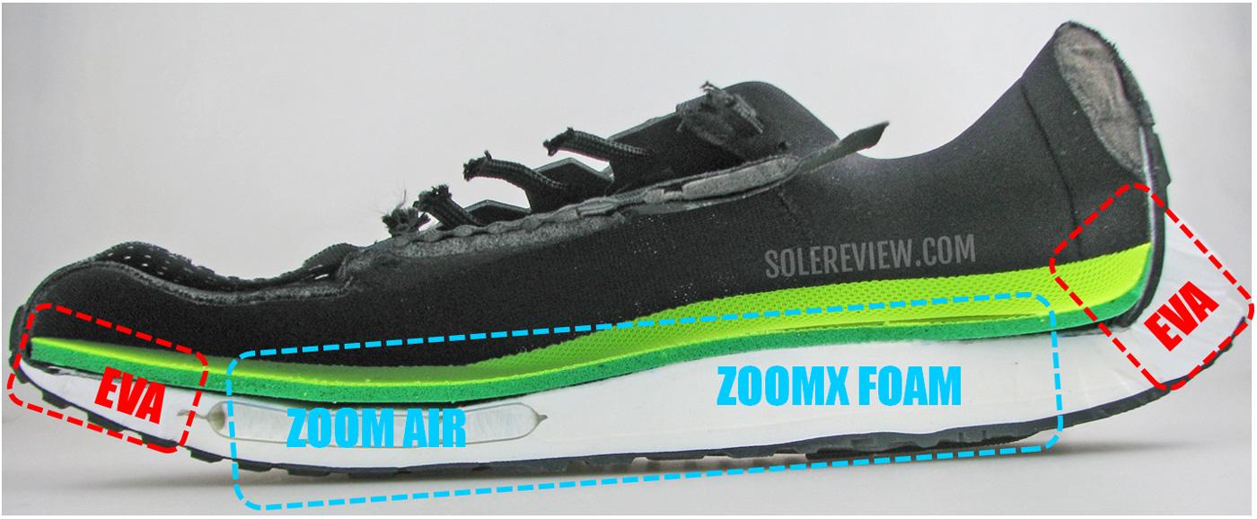 Межподошва Nike Vomero 15, разрезанная пополам