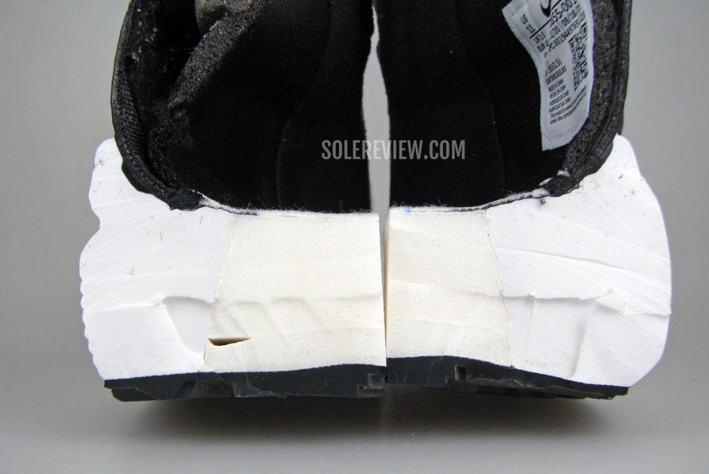 Nike Vomero 15 midsole cut into half