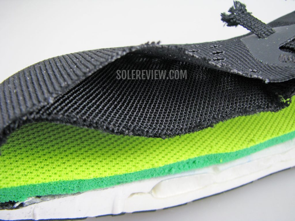 Nike Vomero 15 upper mesh cut into half
