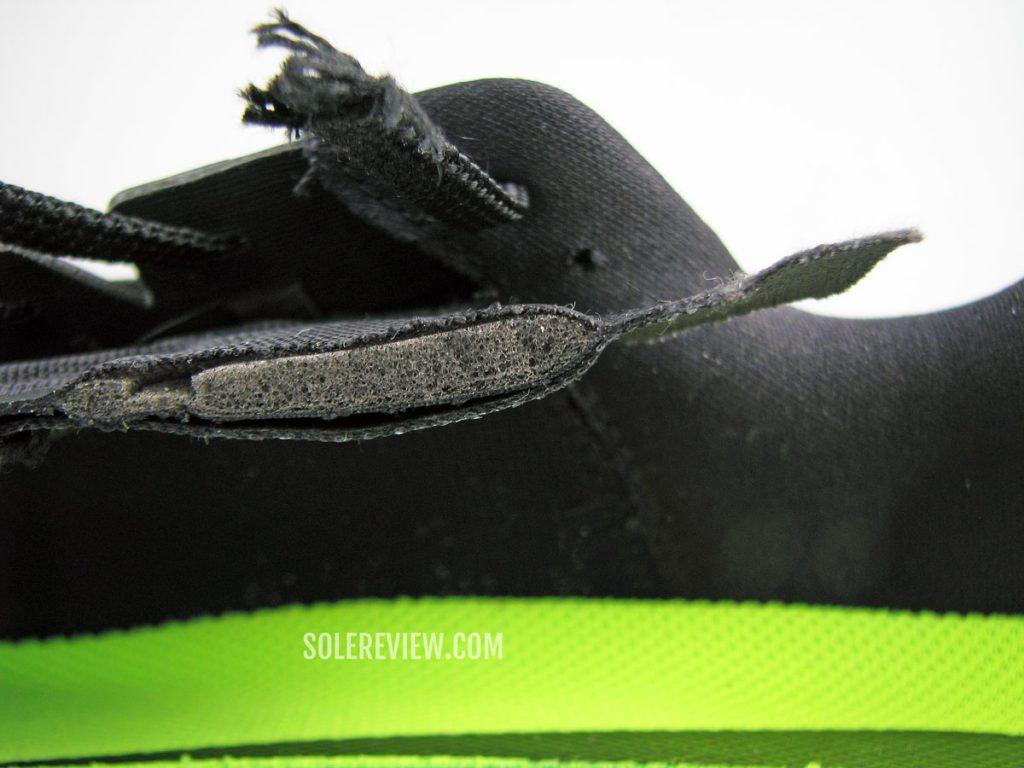 Nike Vomero 15 tongue cut into half