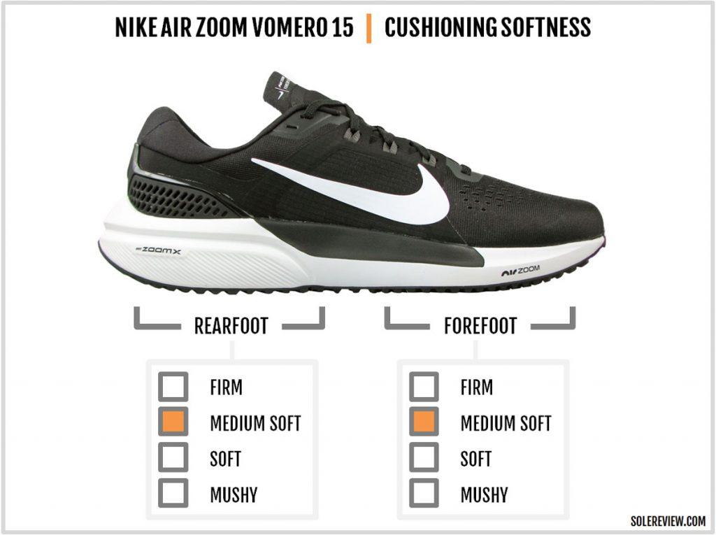 Cushioning softness of Nike Air Zoom Vomero 15