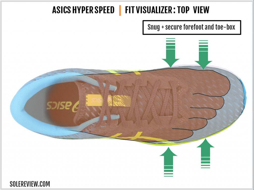 The upper fit of the Asics Hyper Speed