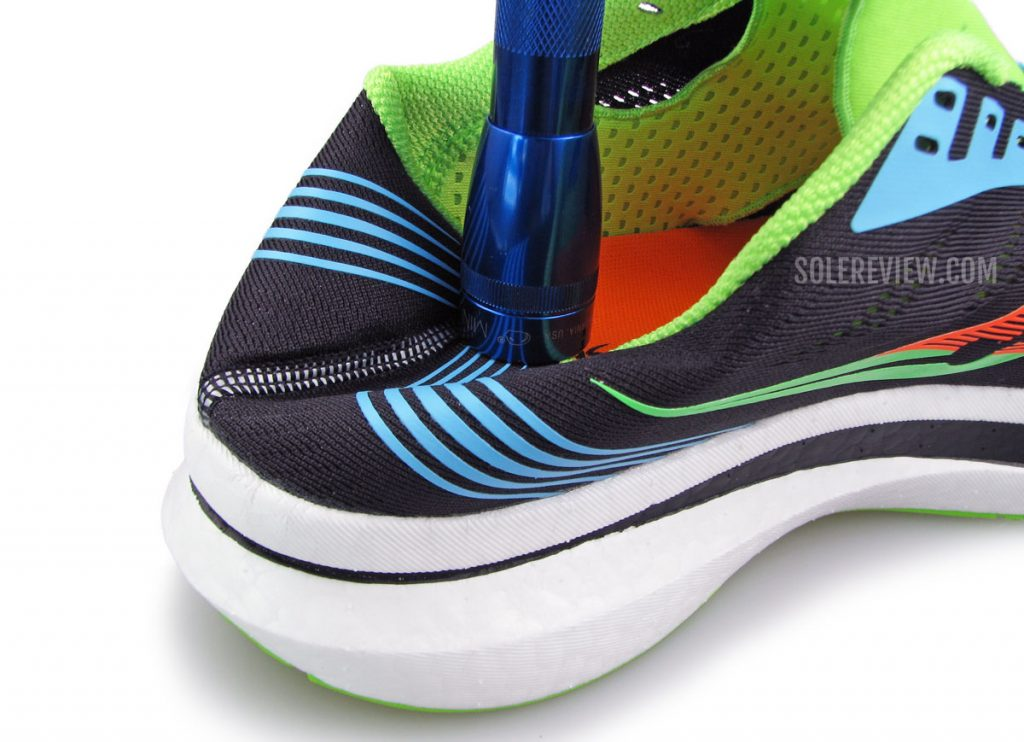The collapsible heel of the Saucony Endorphin Pro
