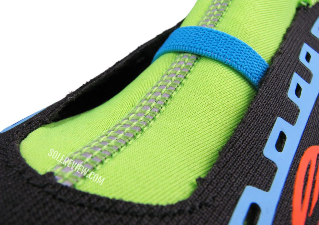 The elastic band on the Saucony Endorphin Pro