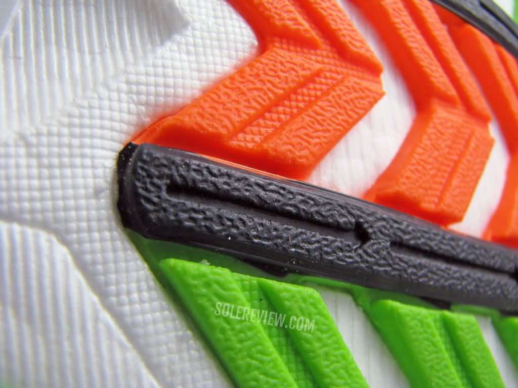 The slippery outsole of the Saucony Endorphin Pro
