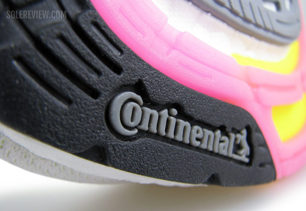 The Continental rubber outsole of the adidas Ultraboost 21