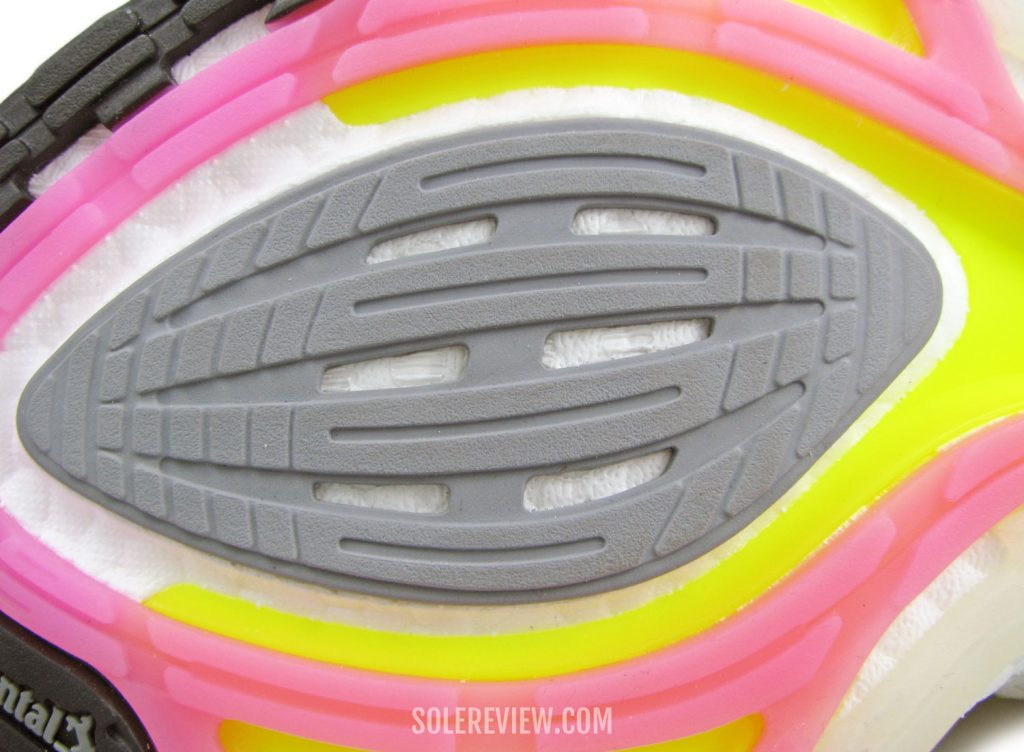 The forefoot outsole of the adidas Ultraboost 21