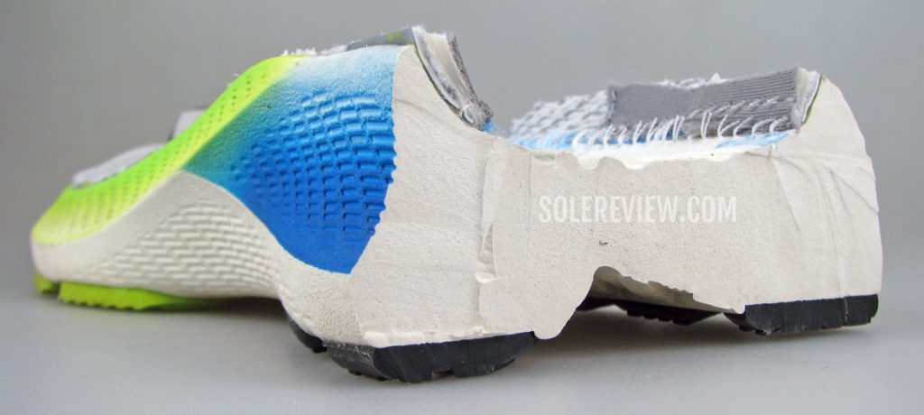 The midsole of the Asics Kayano Lite sliced into half.