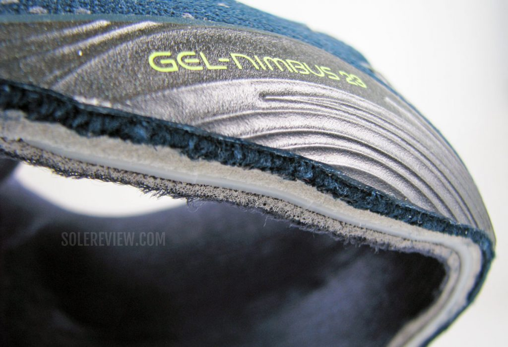 The different layers of the Asics Nimbus 23's upper.