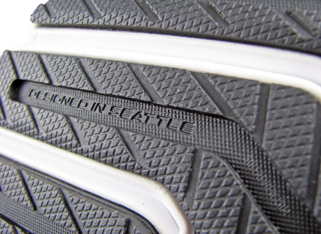 The softer blown rubber outsole of the Brooks Launch 8.