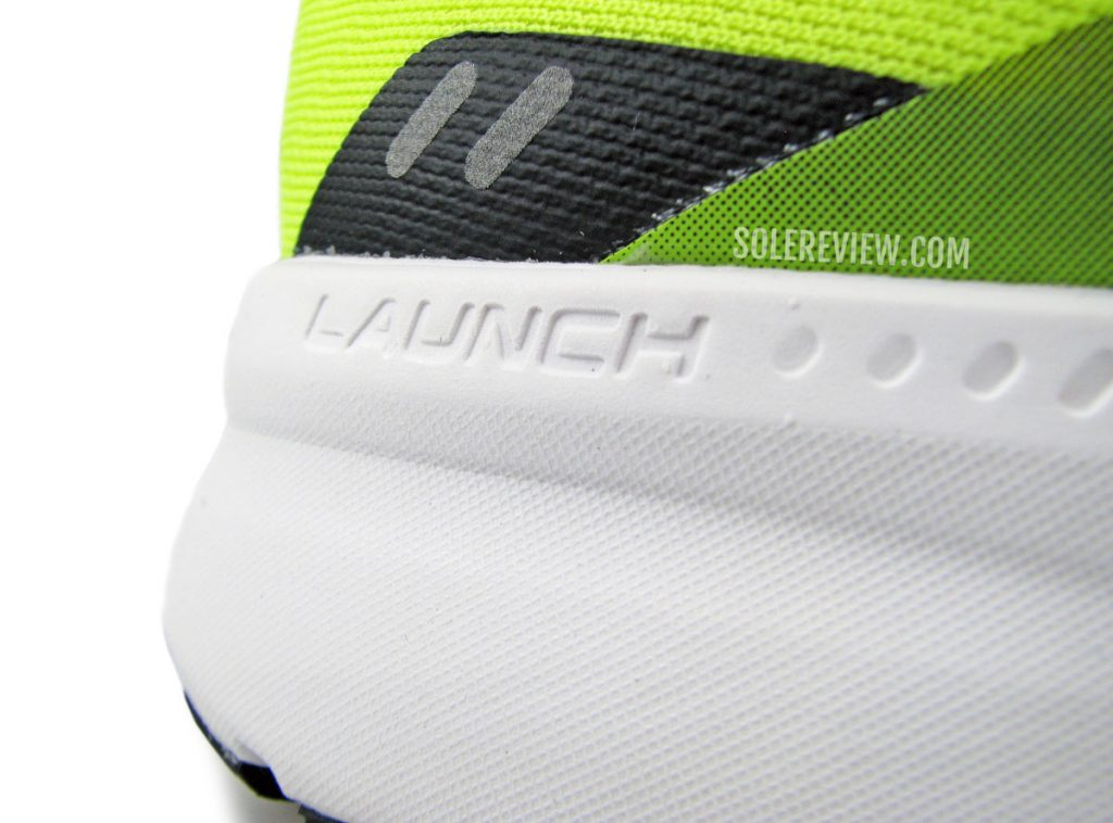 The foam midsole of the Brooks Launch 8.