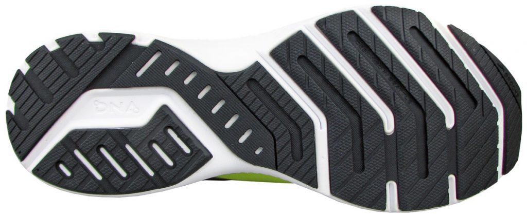 The rubber outsole of the Brooks Launch 8.