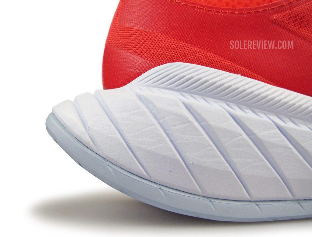 The heel bevel of the Hoka Carbon X2.