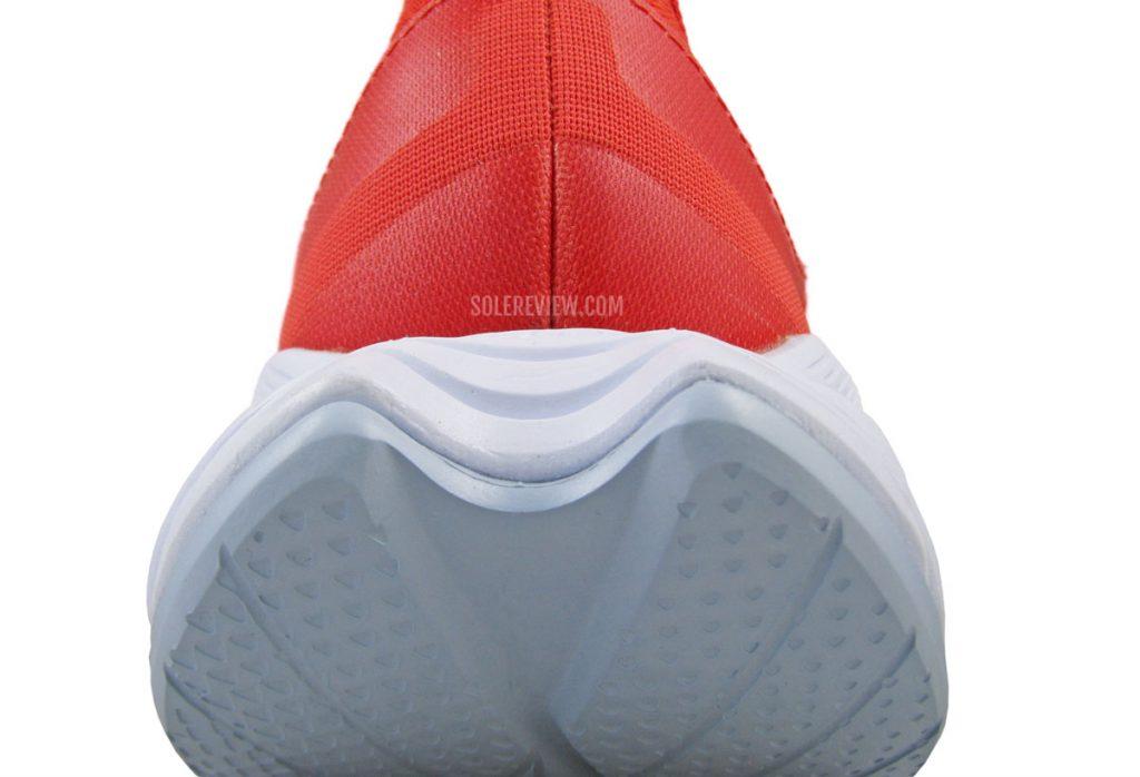 The rocker-shaped heel midsole of the Hoka Carbon X2.