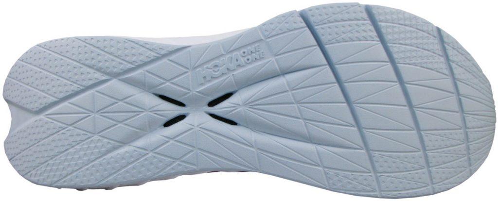 The foam outsole of the Hoka Carbon X2.