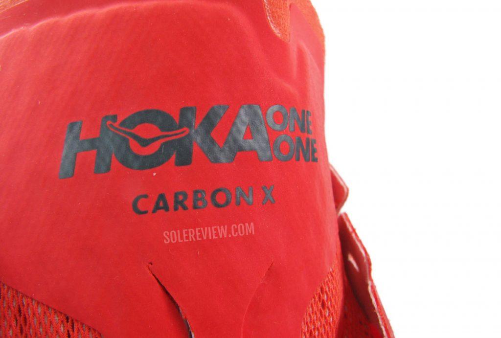 The reflective tongue flap of the Hoka Carbon X2.
