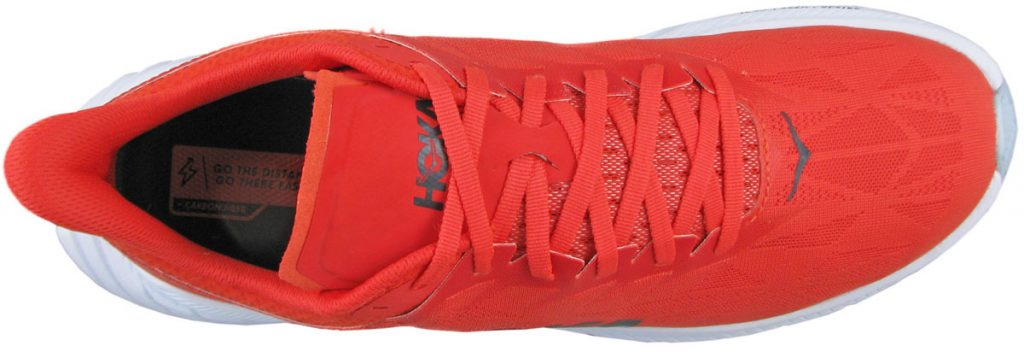 The top upper view of the Hoka Carbon X2.