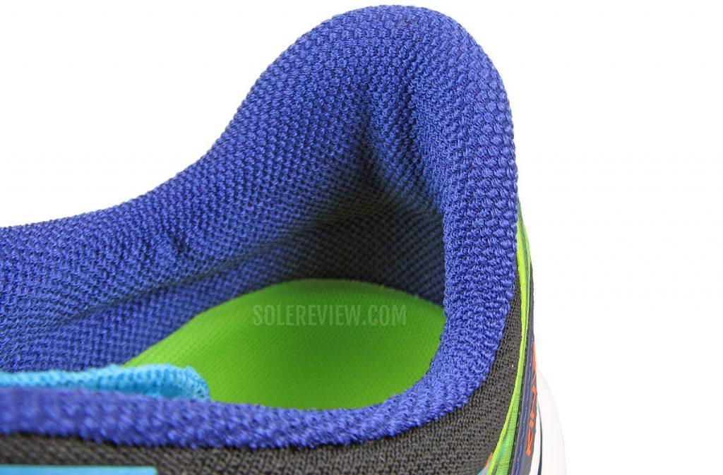 The soft heel collar of the Saucony Kinvara 12.