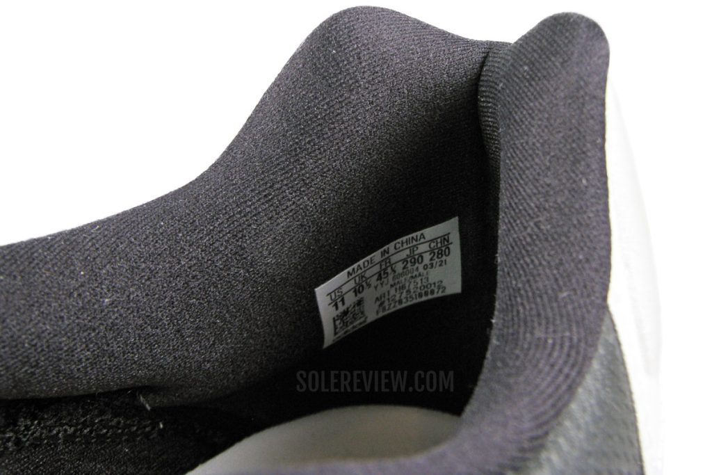 The heel collar of the adidas adizero Boston 10.